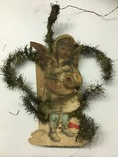 Antique Tinsel Wrapped Christmas Angel Ornament #3