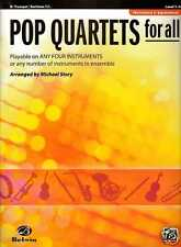 POP QUARTETS FOR ALL TRUMPET MUSIC BOOK LEVEL 1-4 VARIOUS STYLES BARITONE T.C.