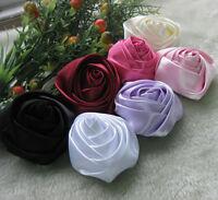 Upick 7pcs Large Big Satin Ribbon Flowers Rose Bow Craft/ DIY/Wedding/Appliques
