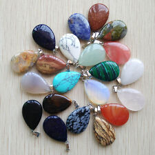 Wholesale 10pcs/lot Assorted Natural Stone mixed Water Drop Charms Pendants