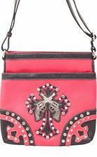 Western Handbag Rhinestone Double Pistol Cross Crossbody Shoulder Bag Purse Pink