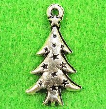 50Pcs. WHOLESALE Tibetan Silver CHRISTMAS TREE Charms Earring Drops Q0525