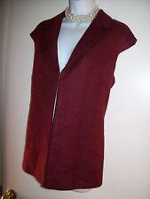Womens Coldwater Creek Pink Maroon Vest Jacket Zip UP sleeveless size 14P 12 PET