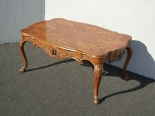 Vintage French Floral Inlay Carved Coffee Table w Cabriole Legs