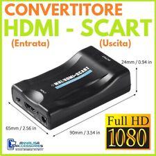 CONVERTITORE Per TV da HDMI MHL a SCART ADATTATORE TRASFORMATORE AUDIO VIDEO HD