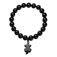 2019 New Fashion Ladies Bracelet Stainless Steel Black Bear Agate Bracelet