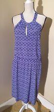 Banana Republic Blue Halter Dress Elastic Waist Geometric Print