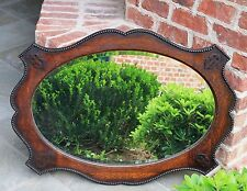 Antique English Jacobean Oak Framed Oval Beveled Wall Mirror