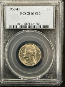 1950 D JEFFERSON PCGS MINT STATE 66 FREE SHIPPING