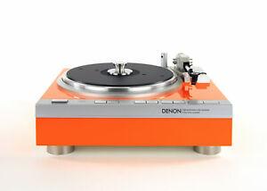 Restaurierter Denon DP-47F Plattenspieler Vollautomat orange Hochglanzlack