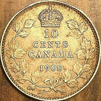 1908 CANADA SILVER 10 CENTS COIN - Nicer example!