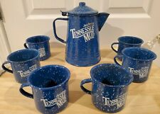 Jack Daniels Tennessee Mud Enamelware/Tin Coffee Pot with 6 Mugs - Blue