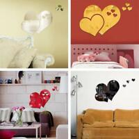 3D Mirror Wall Stickers Love Heart Decal DIY Home Bedroom Art Decor Removable