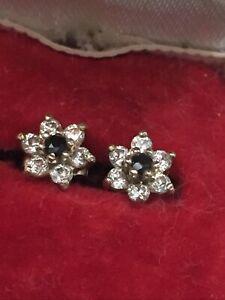 Beautiful Little Sapphire & White Stone 9ct Gold Flower Earrings Pierced Ears