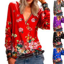Womens Sexy Zipper V-Neck Floral T-Shirt Casual Loose Long Sleeve Blouse Tops UK