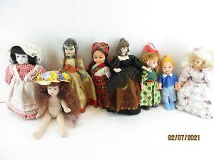 "Lot of 8 small DOLLS some vintage 4-6"" Various misc dolls  2 McDonalds dolls"