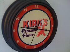 Kirk's Pancake Flour Store Diner Kitchen Advertising Black Wall Clock Sign