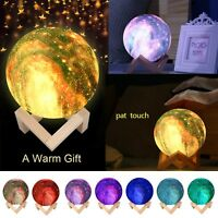 3D Galaxy Star LED Moon Lamp 3/7/16Color Changing Touch Switch Night Light Decor