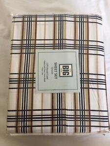 Big One Queen 4pc Sheet Set 275 TC Plaid Printed Tan Pima Cotton Deep Pocket
