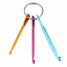 3pcs Aluminum Knit Needle Crochet Hook Needle Keychain Keyring Weave Yard DIY
