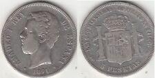 Monnaie Espagne 5 pesetas argent 1871