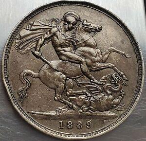 1 Crown 1889 Toning Great Britain Victoria Golden Jubilee Crown Nice Grade !!!