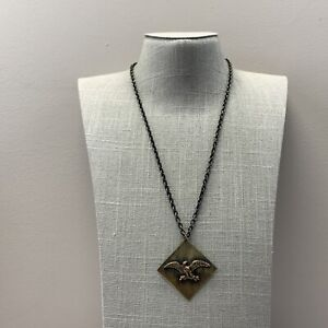 Hand made Antique brass eagle necklace