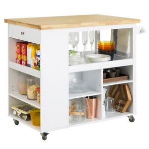 SoBuy Design Küchenwagen Kücheninsel mit Klappe Küchenschrank Rollwagen FKW97-WN