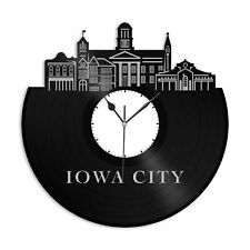 Iowa City Vinyl Wall Clock Vintage Unique Gift for Friends Home Room Decoration