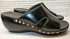 """Cole Haan Women's 8 B Black Leather 2"""" Wedge Mules Sandals Air Slides Shoes"""