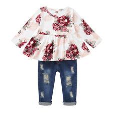 Kleinkind Kinder Baby Mädchen Freizeit Kleidung T-shirt + Jeans Hose Outfits Set