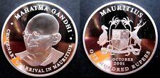 Rare 2001 Mauritius Large 42mm 1+ OZ Silver Proof 100 Rupees-Mahatma Gandhi
