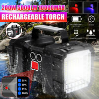 Dual Head LED USB Rechargeable Work Light Torch Candle Power Spotlight Headlamp