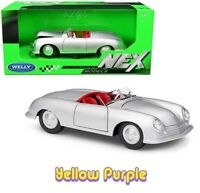 Welly 1:24 NEX 1948 Porsche 356 No.1 Roadster Diecast Model Car Silver 24090