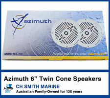 Azimuth 2 x 6 Inch Twin Cone Outdoor Waterproof Marine Speakers 110W Boat Audio