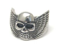 Winged Skull Ring Biker Stainless Surgical Steel Size 8 New