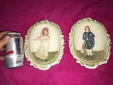 Vintage LEFTON China Hand Painted PINKY Pinkie And BLUE BOY Wall PLAQUES Japan