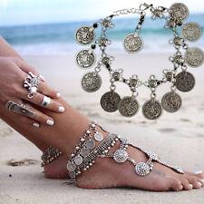 Women Silver Coins Tassel Anklets Gypsy Festival Turkish Tribal Ethnic Bracelet