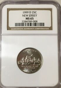 1999-D New Jersey State Quarter NGC MS65 free Shipping #789-008