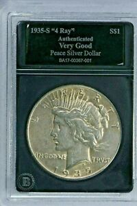 """1935-S $1 """"4 Ray"""" Peace Silver Dollar Very Good In a Bradford Mint Holder 99c NR"""