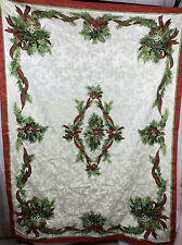"""Cream Damask Holly Berry Red Bows Christmas Tablecloth Rectangle 56"""" X 100"""""""