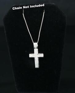 10K White Gold Finish Real 0.33ct Diamond Silver Cross Pendant