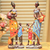 Exotic African Tribal Woman Resin Figurine, Hand Painted Beautiful Grils Statues