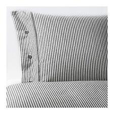 IKEA duvet cover 1 pillowcase TWIN set cotton bedroom soft striped gray NYPONROS
