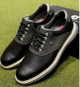 FootJoy 2021 Traditions Golf Shoes 57904 Black 10.5 Medium (D) New in Box #85712