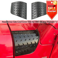 Hood Side Cowl Body Armor Cowl Cover Decoration Black For TJ Jeep Wrangler 97-06