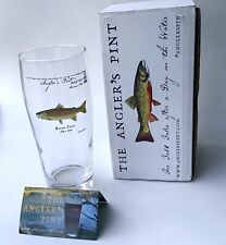 Angler's Pint Glass Brown Trout by Maine Artist Karen Talbot New In Box 21.5 oz.