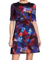 Maggy London Blue Womens Colorblock Printed Scuba Sheath Dress size 10 $138