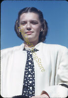 Pretty Woman 1950s 35mm Slide Red Border Kodachrome Fashion Coat