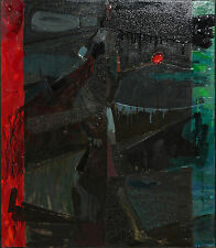 JOHN MAXWELL-PAFA/AWS Modernist-Signed Abstract Oil/Collage-Ambivalent One-1962